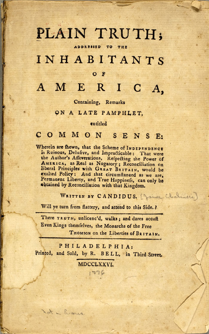 a comparison of common sense by thomas paine and plain truth by james chalmers