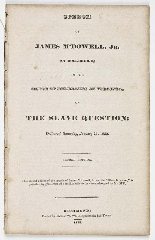 Speech of James M'Dowell, Jr.
