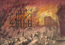 1871 lithograph of people fleeing the great Chicago fire