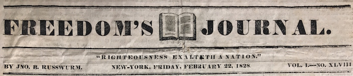 newspaper masthead from the 1828 issue of the Freedom's Journal