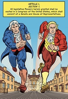 comic book page of article one section one of the constitution and two founding fathers running through a colonial town as superheroes