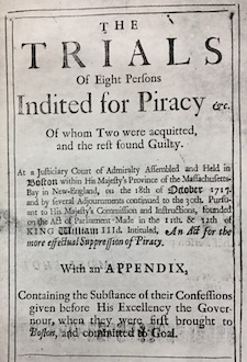 title page of a seventeenth century primary source titled the trials of eight persons indited for piracy