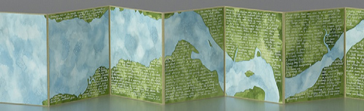 Accordion book stretched out. Hand-painted aerial view of the Delaware river and 19th century diary notes