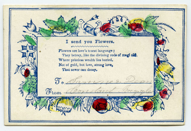 Sentiment cards american antiquarian society sentiment cards small single sided cards printed with greetings or messages on morality were popular in the united states during the nineteenth century m4hsunfo
