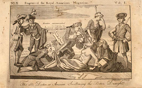 "Paul Revere, ""The Able Doctor, or America Swallowing the Bitter Draught,"" in Royal American Magazine, June 1774."