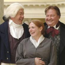 Three actors dressed as Isaiah Thomas, Abby Kelley Foster and John Gough