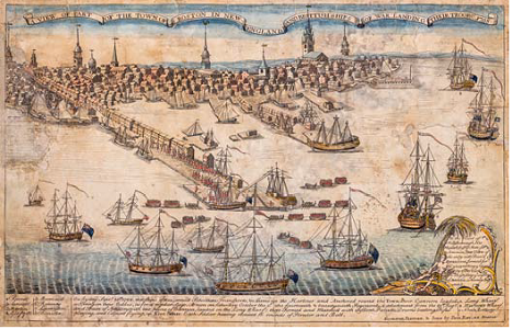 Paul Revere, A View of Part of the Town of Boston in New- England and Brittish [sic] Ships of War Landing Their Troops! 1768, April 1770