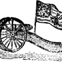 Woodcut for A Song, composed on the evacuation of Boston by the British troops, commanded by General Howe: : who were panic struck, and thrown into the utmost confusion, at the appearrance of General Washington, with a detachment of the American army, who in one night, (unexpectedly to the Britons,) erected strong breast-works, with heavy cannon pointed at the Men of War, then lying in the harbour